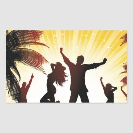 Celebración de la playa rectangular pegatina
