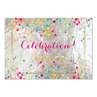 "Celebración de PixDezines Mitzvah deslumbrada/arco Invitación 3.5"" X 5"""