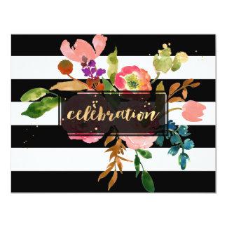 "Celebración de PixDezines Mitzvah/púrpura/floral Invitación 4.25"" X 5.5"""