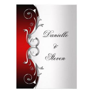 Celebración de plata negra roja adornada del boda comunicado