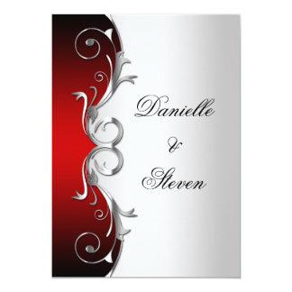 """Celebración de plata negra roja adornada del boda invitación 5"""" x 7"""""""