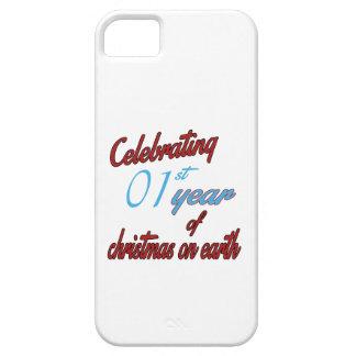 Celebración del 1r año de navidad en la tierra iPhone 5 cárcasas