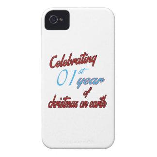 Celebración del 1r año de navidad en la tierra Case-Mate iPhone 4 funda