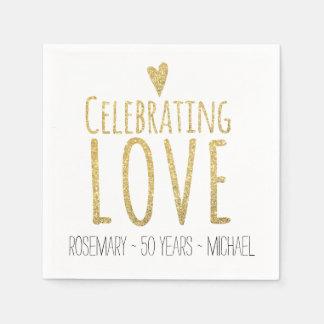 Celebración del 50.o aniversario de boda del amor servilletas desechables