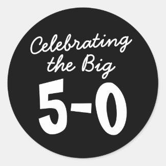 Celebración del 50.o cumpleaños grande pegatina redonda