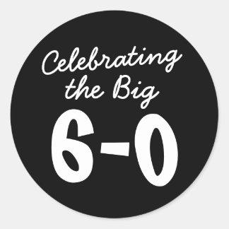 Celebración del 60.o cumpleaños grande pegatina redonda