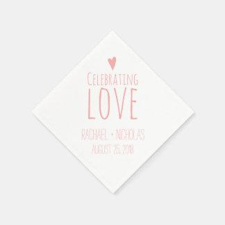 Celebración del amor el | que se casa servilleta desechable
