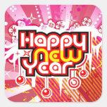 Celebración del Año Nuevo Calcomania Cuadrada Personalizada