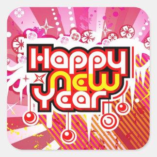 Celebración del Año Nuevo Pegatina Cuadrada