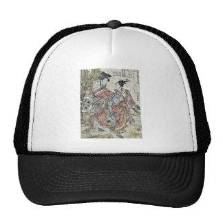 Celebración del Año Nuevo por Katsushika.Hokusai Gorros Bordados