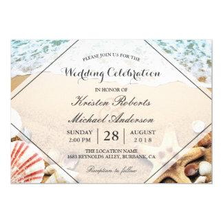 """Celebración del boda del Seashell de las estrellas Invitación 5"""" X 7"""""""