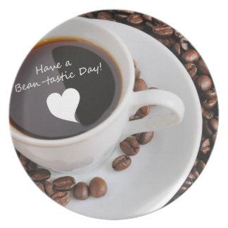 Celebración del café de la Haba-tastic Plato De Cena