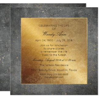 """Celebración del cemento vivo vivo del gris del oro invitación 5.25"""" x 5.25"""""""