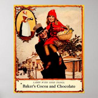 Celebración del chocolate del navidad del vintage poster