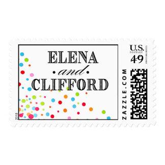 Celebración del confeti - multicolora sello postal