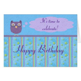 Celebración del cumpleaños de la estrella del búho tarjeta
