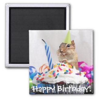 celebración del cumpleaños del chipmunk imán cuadrado