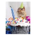 celebración del cumpleaños del chipmunk tarjetas postales