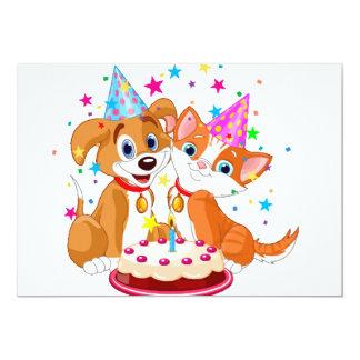 Celebración del cumpleaños del perro y del gato invitacion personalizada