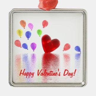 Celebración del día de San Valentín Adorno Cuadrado Plateado