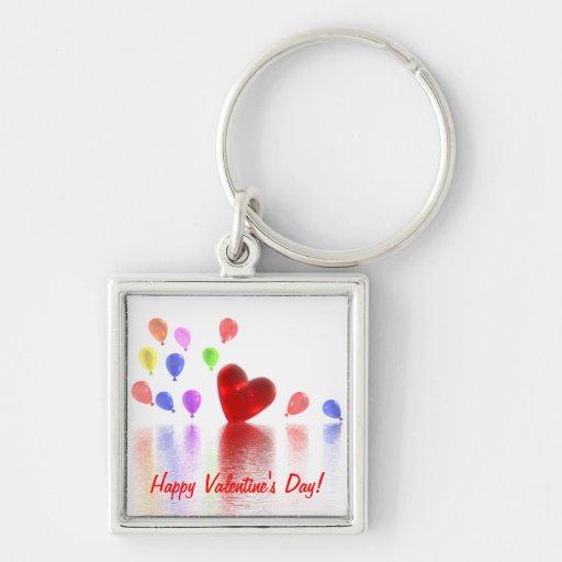 Celebración del día de San Valentín Llavero Cuadrado Plateado