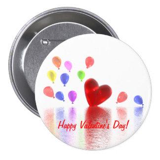 Celebración del día de San Valentín Pin Redondo De 3 Pulgadas