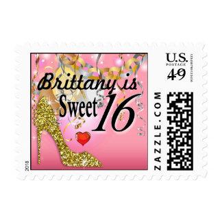 Celebración del estilete del brillo para el rosa timbre postal