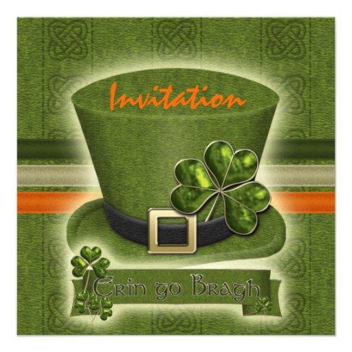 Celebración del gorra del Leprechaun del día del S Invitacion Personalizada