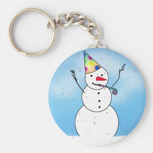 Celebración del muñeco de nieve llavero redondo tipo pin