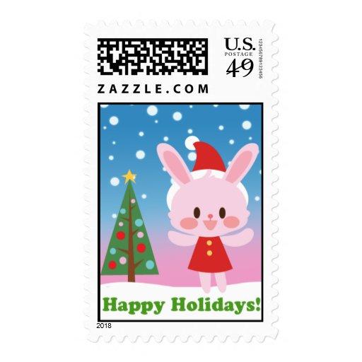 Celebración del navidad del conejito sello