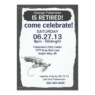 Celebración del retiro de la pesca con mosca invitación 12,7 x 17,8 cm