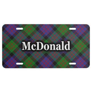 Celebración del tartán de McDonald MacDonald del Placa De Matrícula