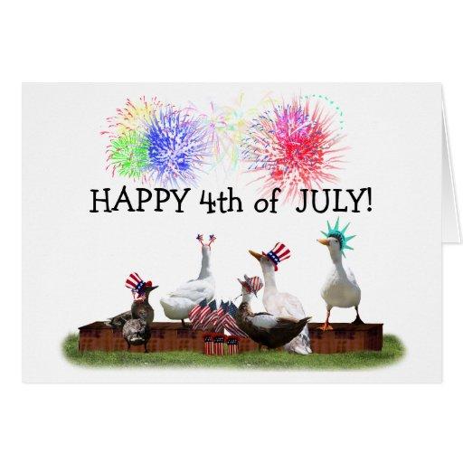 Celebración Ducky para el 4 de julio Tarjeta