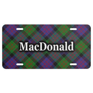 Celebración escocesa del tartán de MacDonald del Placa De Matrícula