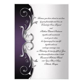 Celebración negra púrpura adornada de la bodas de invitaciones personales