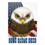 Celebración patriótica calva linda de Eagle mini Comunicado Personalizado