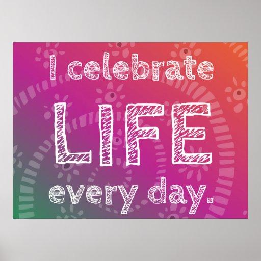 Celebración positiva de la afirmación de la vida poster