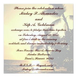 """Celebración romántica del boda de playa invitación 5.25"""" x 5.25"""""""