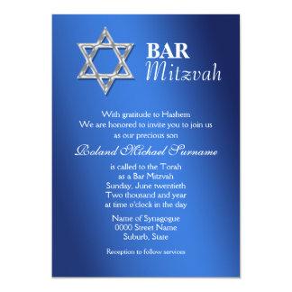 """Celebraciones azules #2 del mitzvah de la barra de invitación 5"""" x 7"""""""