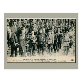 Celebraciones de victoria en París Foch y Joffre Postal