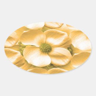 Celebraciones florales de los sueños de seda calcomanías ovaladas