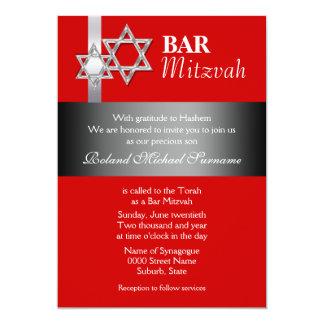 """Celebraciones rojas del mitzvah de la barra negra invitación 5"""" x 7"""""""