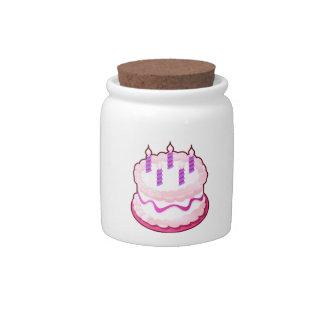 Celebraciones rosadas del dulce de la TORTA Jarras Para Caramelos