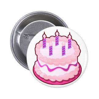 Celebraciones rosadas del dulce de la TORTA Pin Redondo De 2 Pulgadas