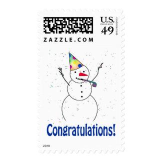 """¡Celebrando el muñeco de nieve """"ENHORABUENA""""! Sellos"""