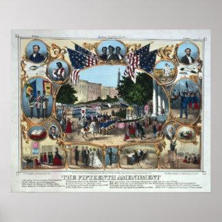 Celebrando la décimo quinta enmienda - 1870 - póster