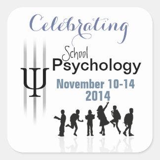 Celebrando la psicología de la escuela 2014 colcomanias cuadradas personalizadas