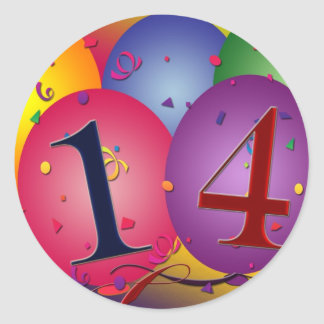 Celebrate 14th Birthday Classic Round Sticker