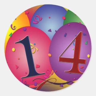 Celebrate 14th Birthday Classic Round Sticker