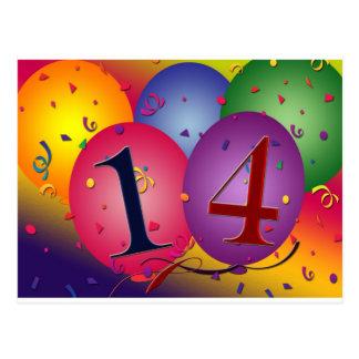 Celebrate 14th Birthday Post Card